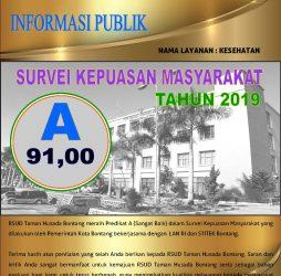 RSUD Taman Husada Bontang Meraih Predikat A Dalam Survei Kepuasan Masyarakat Tahun 2019