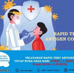 1 Januari RSUD Taman Husada Tetap Buka Layanan Rapid Test Antigen Covid-19