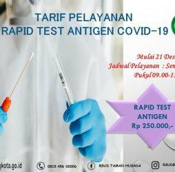 Tarif Pelayanan Rapid Test Antigen Covid-19